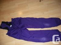Girl's Snow suit Includes: - 3 in 1 jacket size 14 -