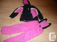 Pink and Black Girl's Snow suit Includes: - 3 in 1