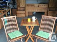 Solid Teak Bistro/Patio Set. A table with 2 chairs