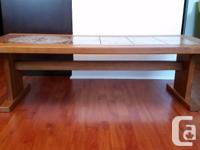 Teak coffee table and end table with ceramic inlaid