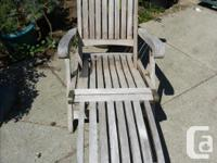 Solid teak steamer chairs (2), plus 2 side tables and 2