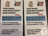 Two hard copy tickets to the Teddy Bear Anonymous
