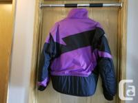 Black / Purple textile motorcycle jacket in excellent