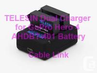 TELESIN Dual Charger for GoPro Hero 4 AHDBT-401 Battery