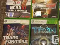 Ten XBOX 360 games for sale at $7.00 each. All ten for
