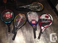 Ball carrier- $20 5 tennis racquets: 3 kids, 2 adult