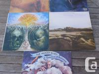 The Moody Blues lot of 5 older LPs featuring all nice