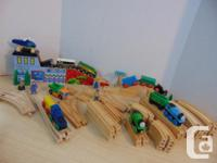 Thomas The Train and Assorted Wood Trains 62 pc With