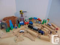 Thomas The Train and Assorted Wood Trains 63 pc With