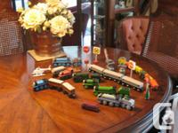 A selection of various wooden Thomas Trains and other