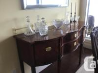 Double pedestal table, 6 chairs including 2 armchairs,