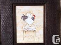 Three Chintz and Co framed chicken prints. Bought for