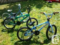 Girls blue bike,in excellent condition.$65 Boys green
