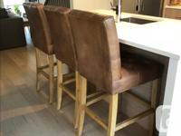 Bennett Parsons Solid Oak/Leather Stools x 3. Must