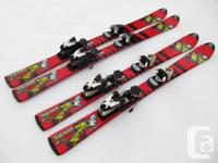 "Two pairs of TecnoPro ""Tigrrr"" junior skis for sale."