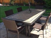Tile top Patio Dining table (purchased at Costco) - 80""