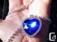 TITANIC HEART OF OCEAN BLUE CRYSTAL NECKLACE -- The