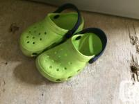 First picture crocs size 5 $5 Second picture 3 pair of