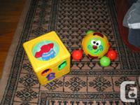 1.  Shapes Cube Toy  2.  Fisher Price Touch and Crawl