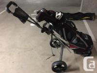 Full set of Top Flite golf clubs, including a premium
