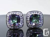 A pair of perfectly faceted mystic topaz and white