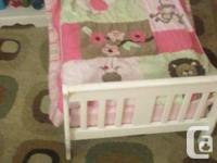 Toddler bed is sold Night Table $25- Pink top and white