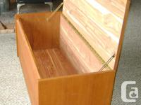 This solid wood frame cedar chest was made in Winnipeg,