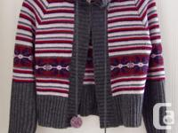 Gorgeous striped Tristan sweater with pompom ties! Size, used for sale  Ontario