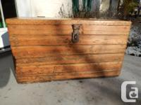 Wonderful old wood storage trunk with bunches of