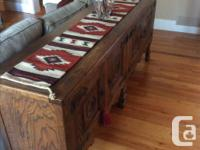 Used Tudor Style Oak dinner table and hutch. Extremely