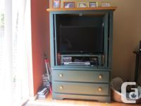 Solid pine TV or storage cabinet with two matching