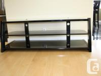 "Glass shelf TV stand 60"" wide, 21"" deep, 22"" high"