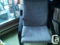 $100 - IKEA POANG chair - Black wood frame, Grey