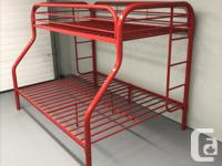 This is a metal bunk bed set with a double bed on the