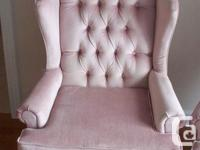 These are 2 Pink Crushed Velvet Wing Back Chairs mint