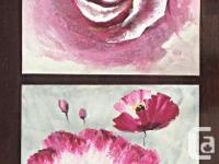 Two beautiful floral paintings on canvas in vibrant