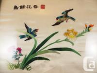 """Two approx. 15"""" x 17"""" framed Chinese embroidery on silk"""