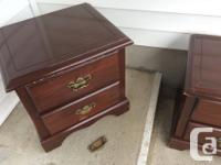 two matching two drawer night tables, mixture of