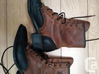 Beautiful Two Tone Black & Brown Vintage Leather boots