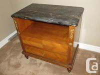 2 Antique bed side tables. Light mahogany, marble top,