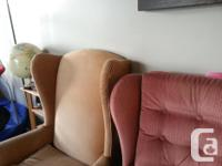 brown wing chair has cat damage(2,3rd pics). lazy boy