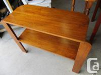 IT STANDS ON THREE WOODEN LEGS. IT IS 32 INCHES LONG,