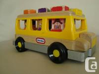 Rare Little Tikes 2003 Wooden School Bus & Shape
