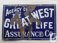 Original Porcelain THE GREAT WEST LIFE ASSURANCE Co.