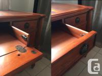 Beautiful solid wood desk with leather inlay on top