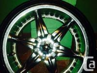 """I have a set of universal 5 bolt 20"""" rims and tires the"""