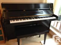 Sojin Upright Piano with bench. Black. Excellent
