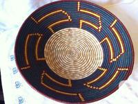 African Ugandan Large Hand Woven Basket Geometric