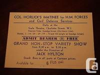 Fresh ticket to Col. Horlick's Matinee, 1941. Shipping