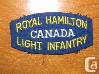 Canadian Shoulder flash for the Royal Hamilton Light